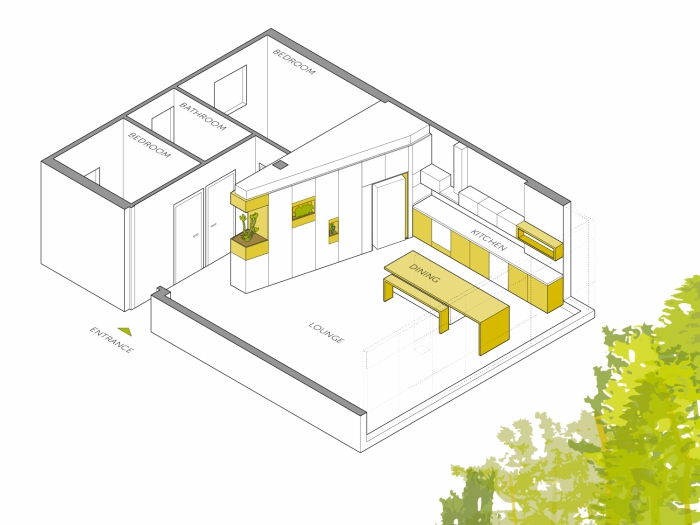 Plan of Hagat Apartment by Itai Palti Architect