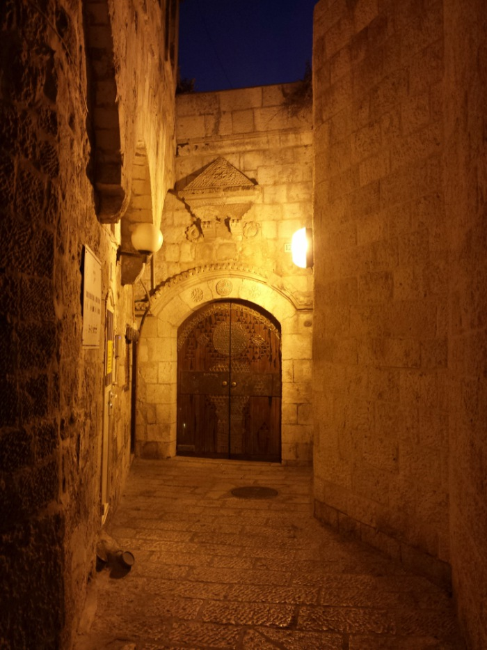 Alley in the Old City of Jerusalem and the house or Rabbi Getz