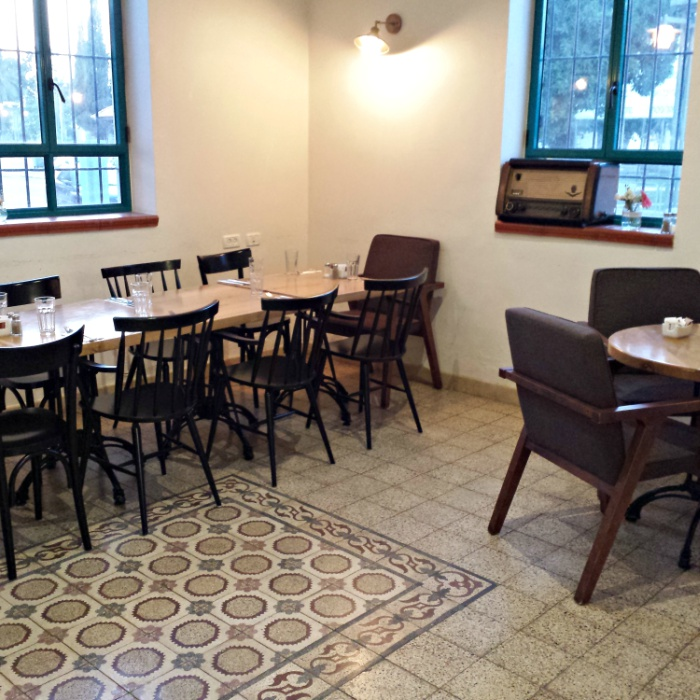 The modern meets vintage interior of Cafe Rozalia in Bet Shean