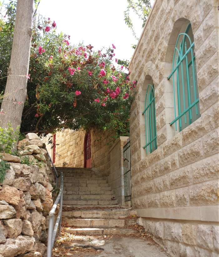 A passageway in Ein Kerem with pink flowers and turquoise window bars