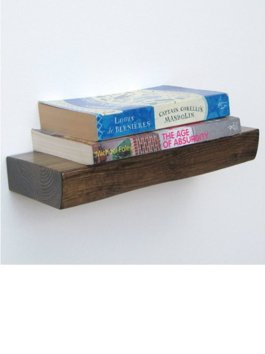 Bark Floating Shelf in walnut from brightblueliving.com
