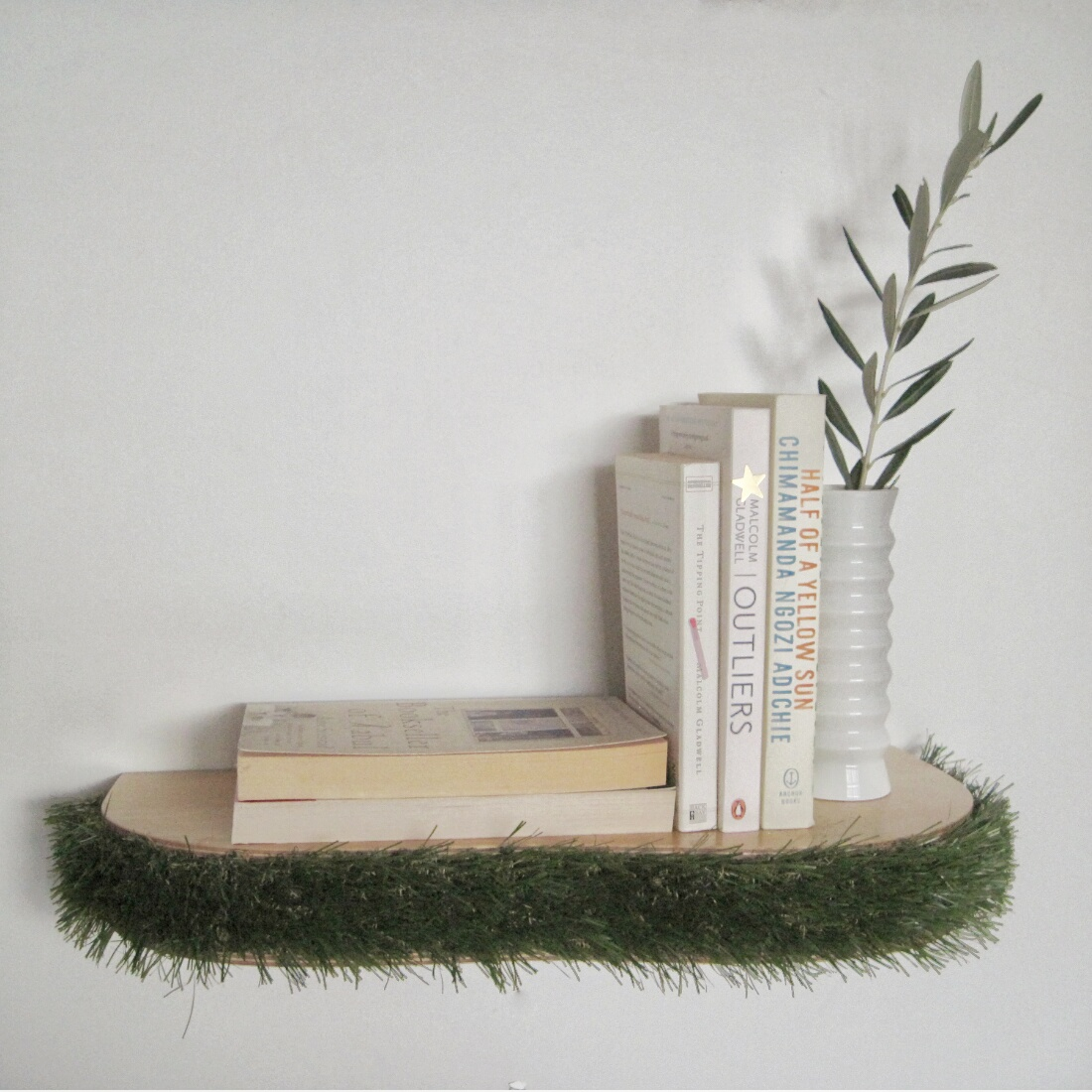 Grass Floating Shelf book shelf from brightblueliving.com