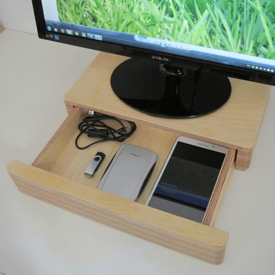 Pacco Drawer and Monitor Stand from brightblueliving.com