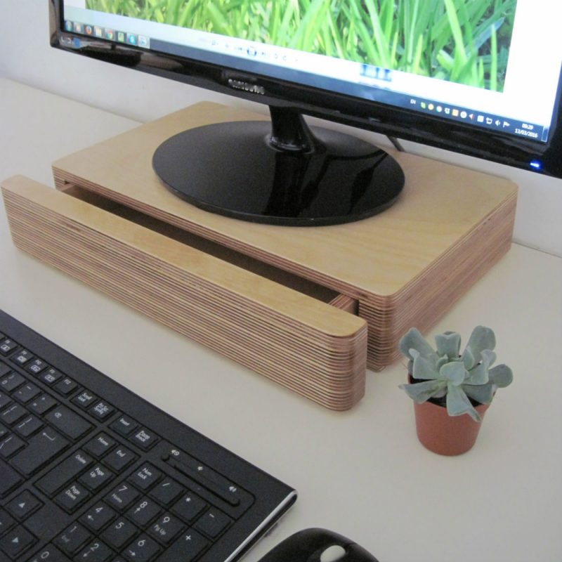 Pacco Drawer and Monitor Stand designed by Samuel Ansbacher