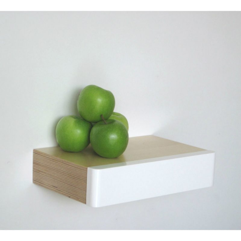 Pacco Floating Drawer birch white with green apples from brightblueliving.com