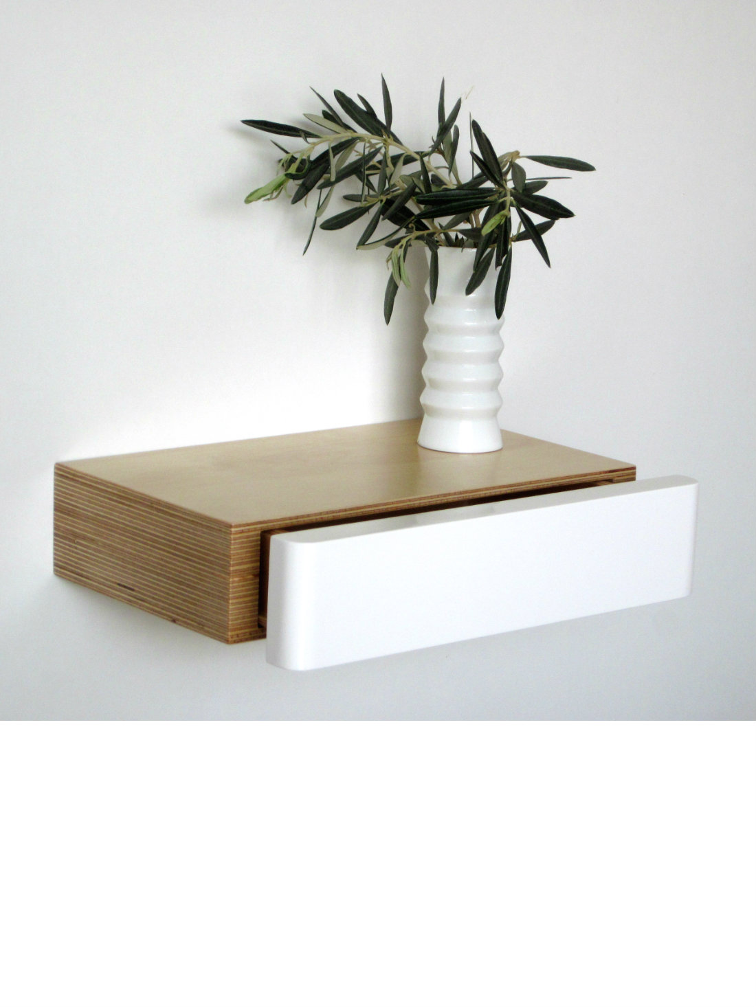 Pacco Floating Shelf Drawer birch white from brightblueliving.com