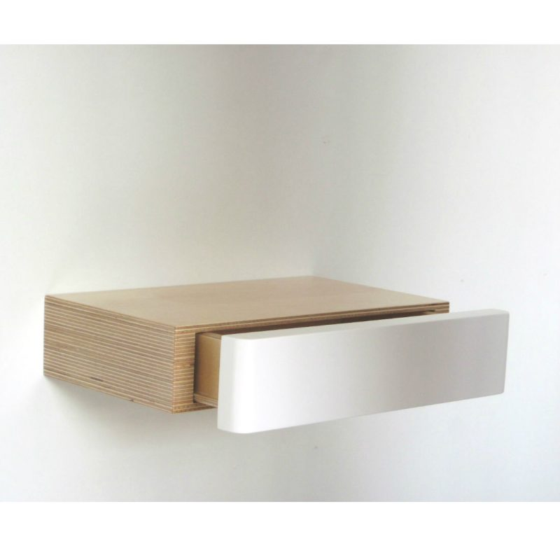 Pacco Floating Shelf Drawer birch white from Bright Blue Living