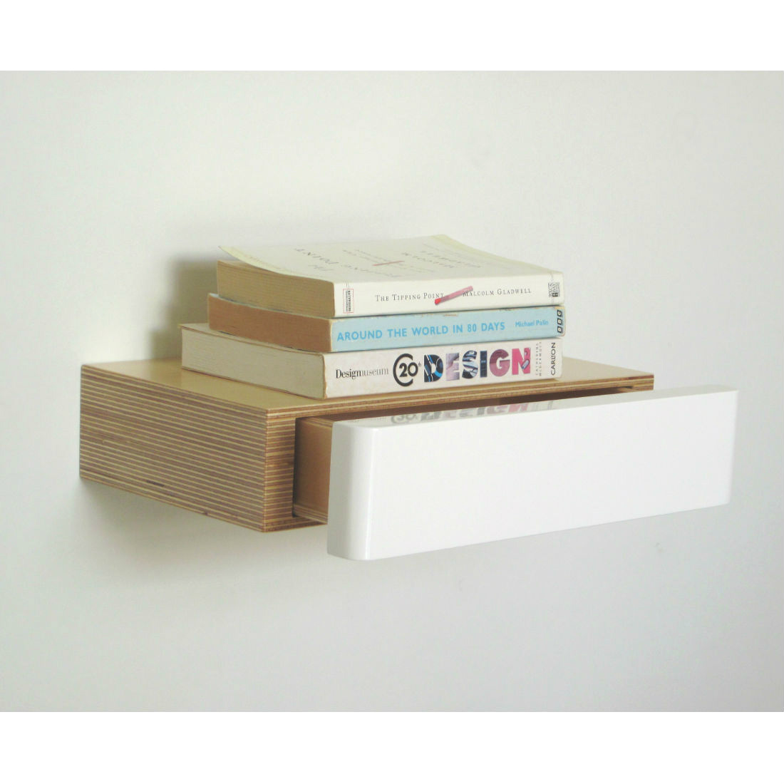 Pacco Floating Shelf Drawer in birch white from brightblueliving.com