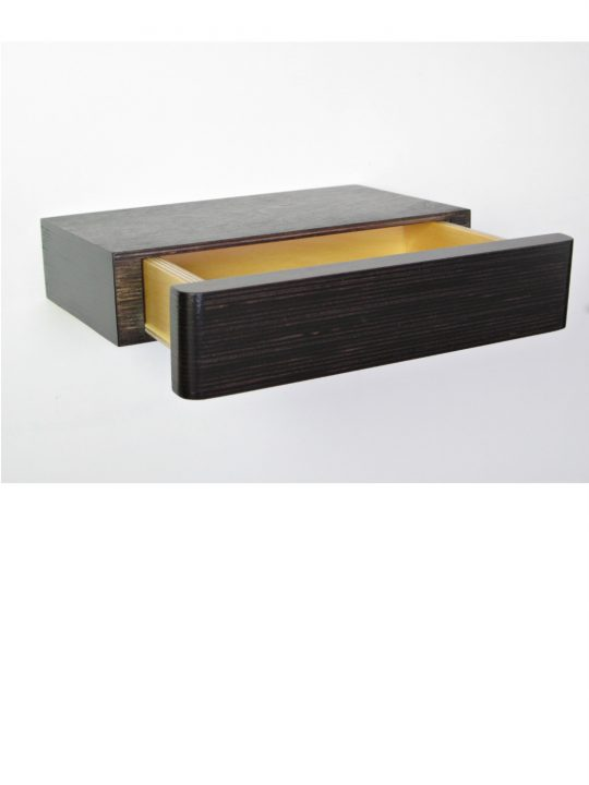 Pacco Floating Shelf Drawer in walnut from brightblueliving.com