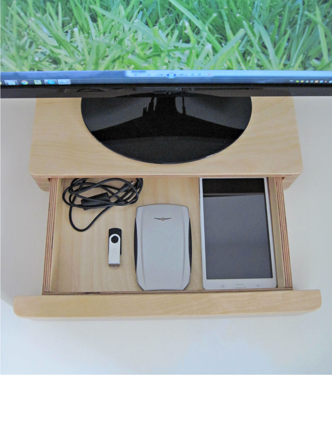 Pacco Monitor Stand and Drawer from brightblueliving.com